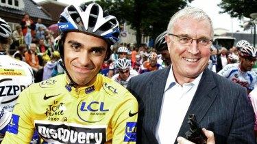 Uphill battle: Pat McQuaid pictured with Alberto Contador.