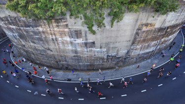 From on high: running on Hickson Road.