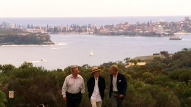 Cause and effect ... Jack Mundey, Linda Bergin and Don Goodsir at Georges Heights.