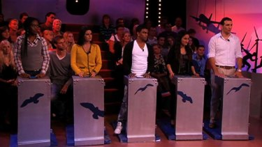 In the hot seat ... the five contestants taking part in the controversial Dutch quiz.