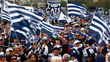 Geelong fans celebrate the 2009 premiership.