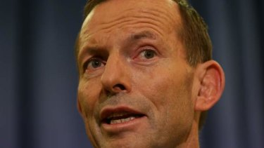 Opposition Leader Tony Abbott at a late night press conference on Wednesday.