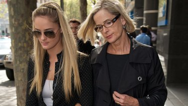 Christine Bowden, right, with daughter Sheridan, outside the Coroner's Court.