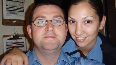 Constable Ryan Marron with his fiancee, Constable Toni Misitano before he was affected by Murray Valley Encephalitis.