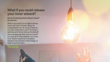 Telstra's new print campaign highlighting smart home technology.