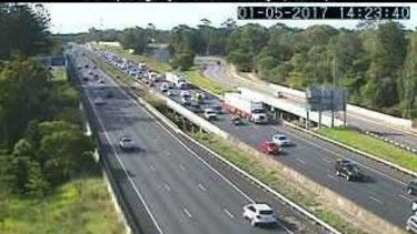 The Bruce Highway is clogged from Station Road, Burpengary.
