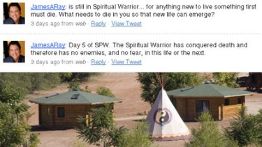 """Top, James Arthur Ray's deleted tweets and, bottom, investigators look over the """"sweat lodge"""" in Arizona."""