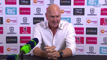 Paul McGregor addresses the media after the Dragons clash against the Sea Eagles in Round 6