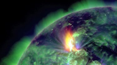 This January 19, 2012 image provided by NASA shows an M3.2 solar flare captured by the Solar Dynamics Observatory (SDO). An earth-directed coronal mass ejection was associated with the solar flare. NASA's Space Weather Services estimated that it traveled at over 630 miles per second and reached the Earth on January 21, when strong geomagnetic storms and aurora were observed.