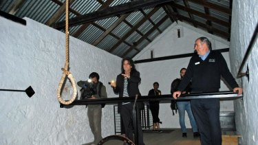 The rocker was fascinated by the historic gallows, which were used to execute 45 people.