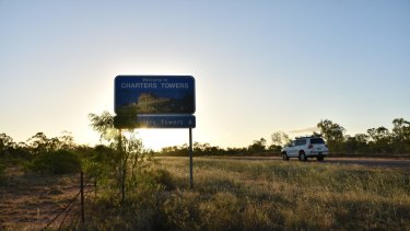 The road into Charters Towers, where locals remain baffled by the disappearance.