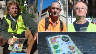 Big Issue vendors (clockwise from left) Michael, Tony, Peter and Greg (who did not want his face pictured).