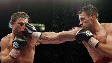 Big blow ... Michael Katsidis, left, suffered a unanimous points loss to American Robert Guerrero in April.