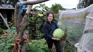 Kat Lavers in her vegie patch.