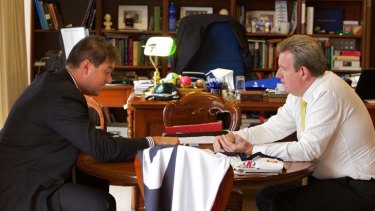 11.15am ... Mr O'Farrell meets his chief-of-staff, Peter McConnell, for their daily update in his Parliament House office.