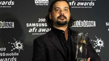 Warwick Thornton with one of his AFI awards for Samson and Delilah.