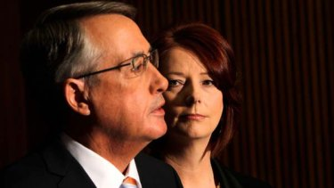 Prime Minister Julia Gillard and Treasurer Wayne Swan at today's announcement.
