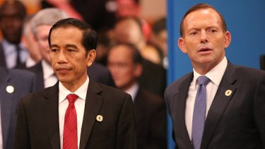President of Indonesia Joko Widodo and Prime Minister of Australia Tony Abbott.