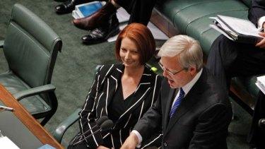 Caucus drama ... Julia Gillard and Kevin Rudd.