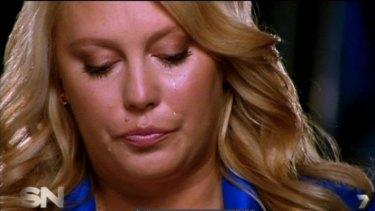 Mel Greig crying on <i>Sunday Night</i> about the infamous 'royal prank' call.