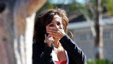 A family friend near the crime scene in Covina, California.