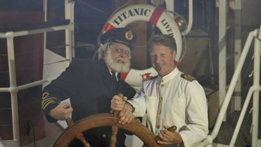 The Captain and crew member David of the Titanic Theatre Restaurant.