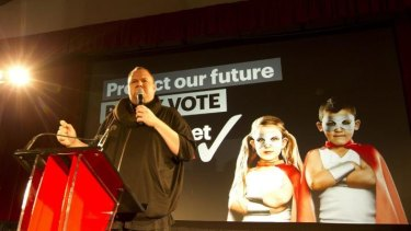 Kim Dotcom at the Internet Mania campaign launch.