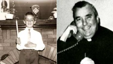 Molested, Arthur Budzinski celebrates his first communion in 1958, and (right) Lawrence Murphy allegedly molested students at deaf school in Wisconsin.