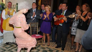 Dancing the night away ... Spain's Duchess of Alba shows off her moves.