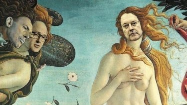 Senator Brandis as Botticelli's Venus.