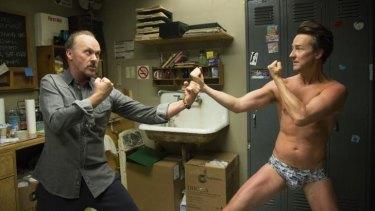 Not getting along: Michael Keaton and Edward Norton in Birdman.