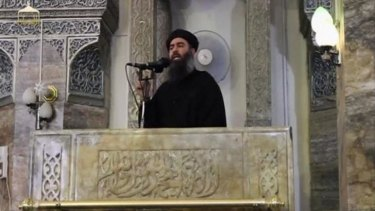 Footage released by supporters of the Islamic State in Iraq and the Levant purports to show its leader, Abu Bakr al-Baghdadi, preaching from the pulpit of the Nur al-Din Mosque in Mosul.