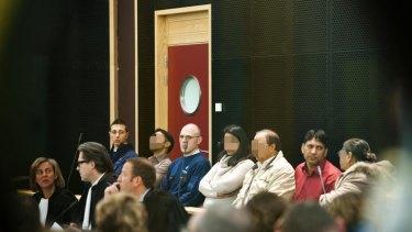 On trial ... Mudusar Sheikh second left, Sariya Sheikh, centre, Tarik Mahmood Sheikh, thrid right, and Zahida Parveen Sariya.