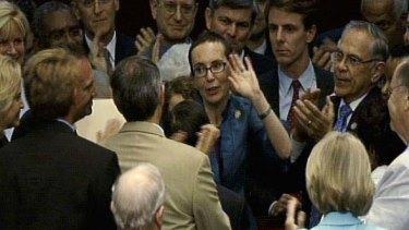 Cast her vote ... Gabrielle Giffords.