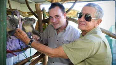 Businessman Kenton Campbell with veteran wildlife protection campaigner Bob Irwin.