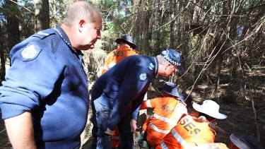 Police and SES volunteers work their way through dense bushland at Beerwah on Queensland's Sunshine Coast in the ongoing search for the remains of Daniel Morcombe.