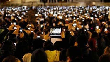 Smartphones were at the ready as people gathered in St Peter's Square to await the arrival of Pope Francis.