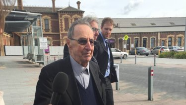 Former Ballarat Bishop Ronald Mulkearns outside court in Geelong on Wednesday.