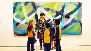 Ildiko Kovacs at the Art Gallery of NSW with admirers from Bexley Public School.