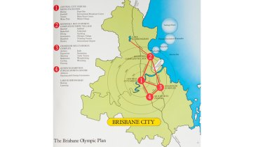 A proposed map of venues for the '92 Brisbane Olympics.<B><A href= http://images.brisbanetimes.com.au/file/2012/07/27/3495517/book-4.jpg?rand=1343340526216 > VIEW IT IN FULL </a></b>