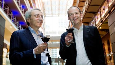 Pernot Ricard executives Pierre Pringuet and Jean-Christophe Coutures sample the product.