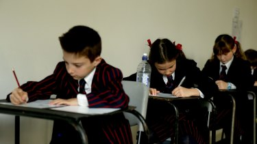 Year 3 students sit the NAPLAN test in 2015.