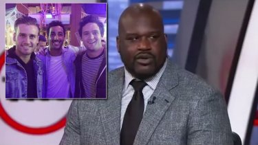 Shaquille O'Neal gives Docker a shout-out on US TV and (inset) Hayden Crozier with Perth lad Daniel Ricciardo and Alex Forster.