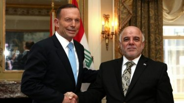 The die has been cast: Prime Minister Tony Abbott meets with the Prime Minister of Iraq.