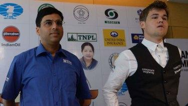 Chess heavyweights: Magnus Carlsen, right, and Indian world champion Viswanathan Anand.