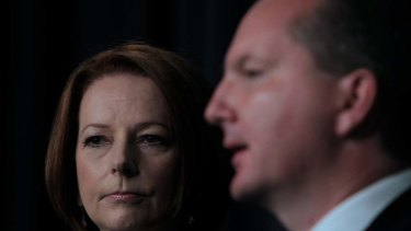 Prime Minister Julia Gillard and Immigration Minister Chris Bowen announcing the now failed Malaysia solution. Labor has changed its party platform to allow offshore processing of asylum seekers.