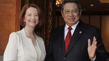 On good terms ... Julia Gillard and Susilo Bambang Yudhoyono.