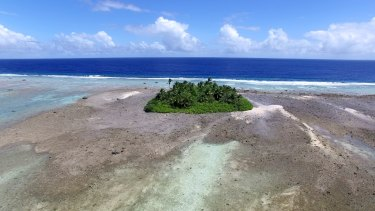 Mili Atoll in the Marshall Islands, as viewed by a drone during the scientists' research work in the western tropical Pacific.