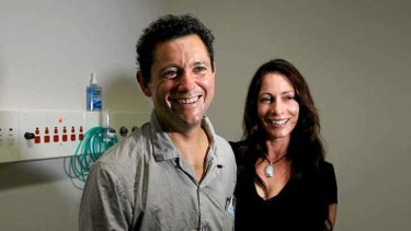 Heart transplant recipient Jan Damen with his wife Silvana at St Vincents Hospital in Sydney.