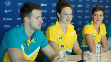 James Magnussen, Cate Campbell and Bronte Campbell speak to media during the Australian Pan Pacs Squad press conference at the Gold Coast Aquatic Centre.